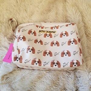 Betsey Johnson dog print double zip cosmetic bag